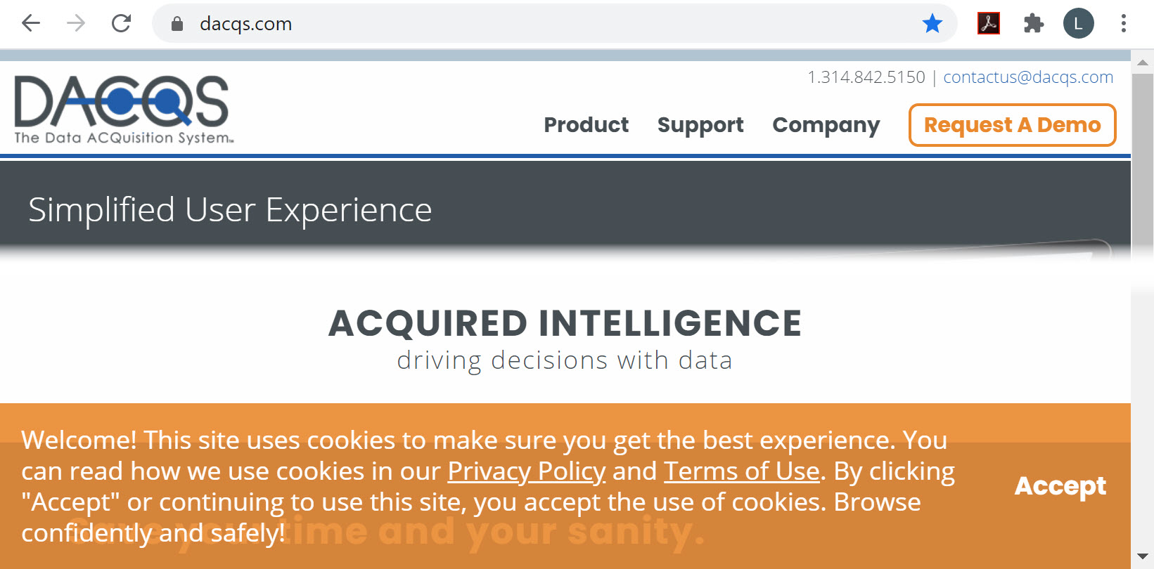 Website example with cookie notice